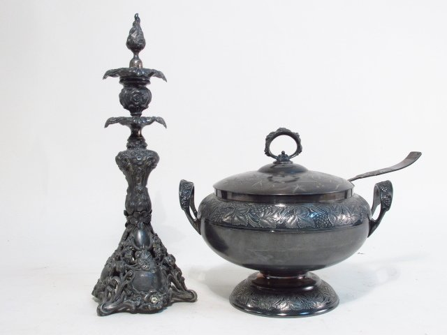 SILVER PLATE TUREEN & CANDLESTICK