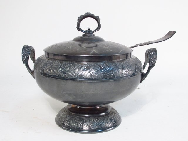 SILVER PLATE TUREEN & CANDLESTICK - 2