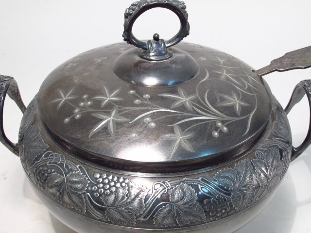 SILVER PLATE TUREEN & CANDLESTICK - 3