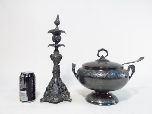 SILVER PLATE TUREEN & CANDLESTICK - 9