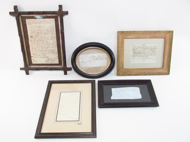 FRAMED ANTIQUE MANUSCRIPTS & CORRESPONDENCE: SAMUE