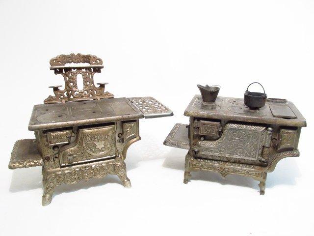 TWO ANTIQUE CAST IRON SALESMAN'S SAMPLE STOVES