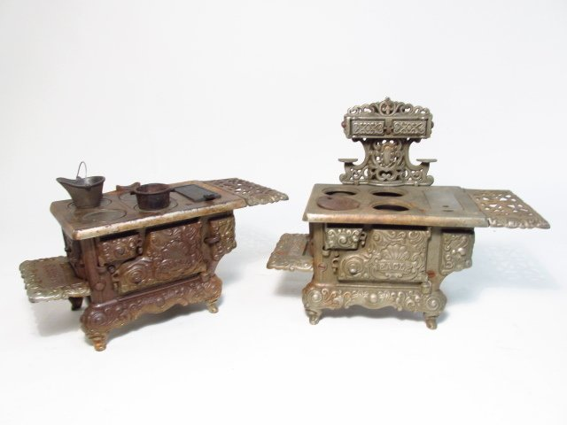 TWO EAGLE CAST IRON SALESMAN SAMPLE STOVES