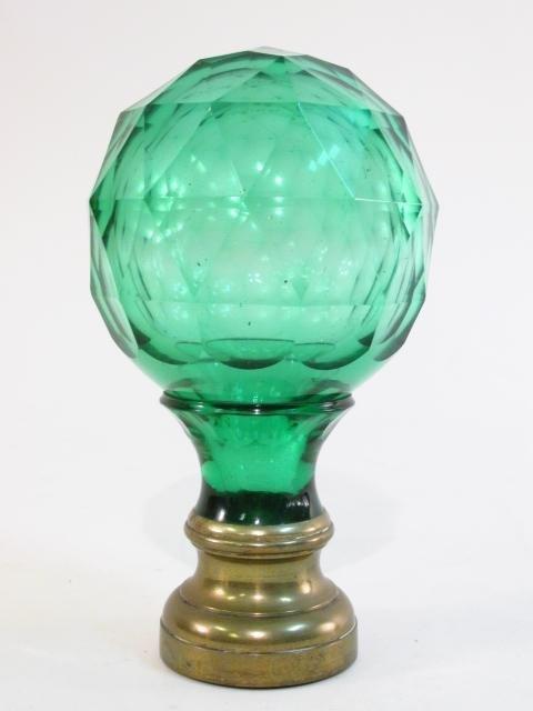 ANTIQUE GREEN CUT GLASS NEWELL POST FINIAL