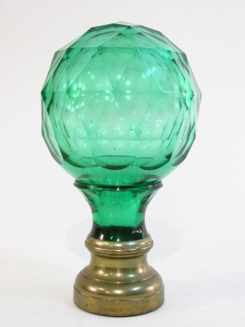 ANTIQUE GREEN CUT GLASS NEWELL POST FINIAL
