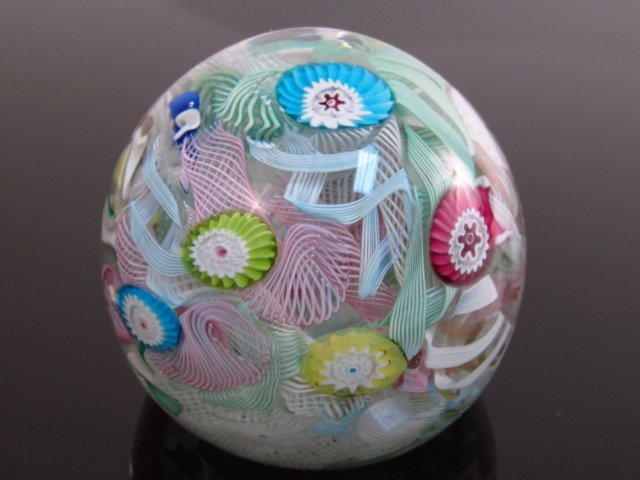 ANTIQUE SCRAMBLE PAPERWEIGHT - DATED 1887