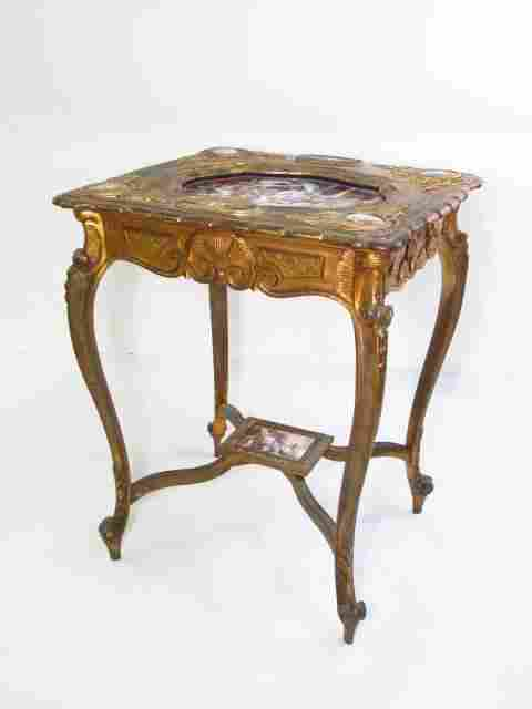19TH C ROYAL VIENNA GILTWOOD & PORCELAIN TABLE