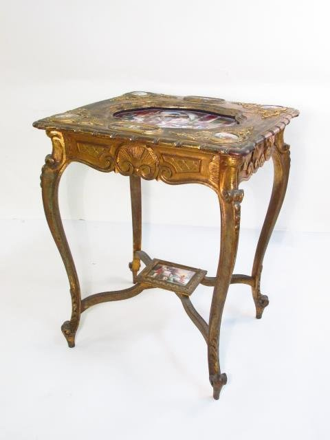 19TH C ROYAL VIENNA GILTWOOD & PORCELAIN TABLE