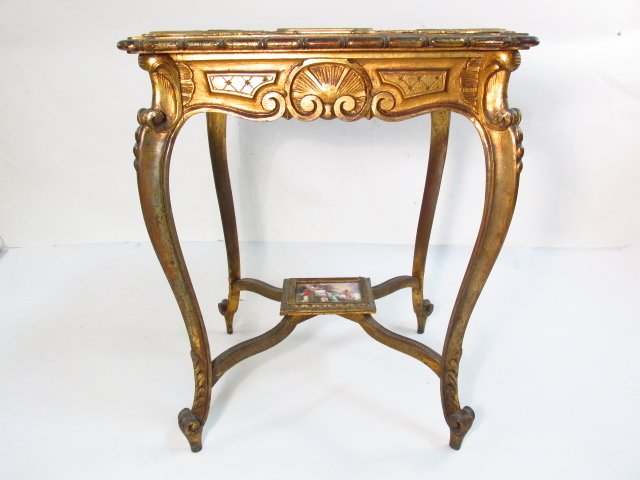 19TH C ROYAL VIENNA GILTWOOD & PORCELAIN TABLE - 6