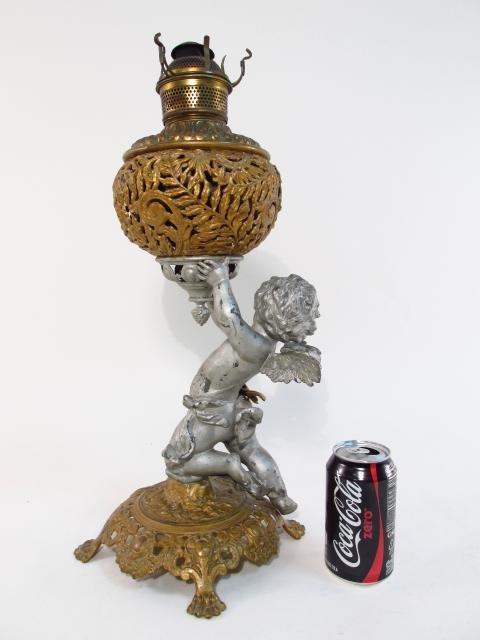 VICTORIAN PATINATED METAL FIGURAL BANQUET LAMP - 2