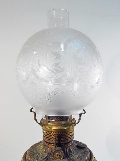 VICTORIAN PATINATED METAL FIGURAL BANQUET LAMP - 3