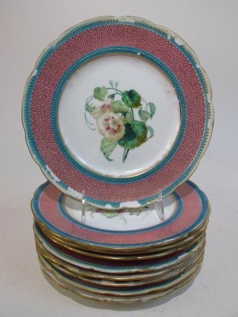 NINE EARLY ROYAL WORCESTER HAND PAINTED PLATES