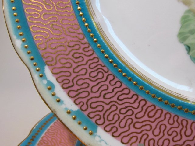 NINE EARLY ROYAL WORCESTER HAND PAINTED PLATES - 4
