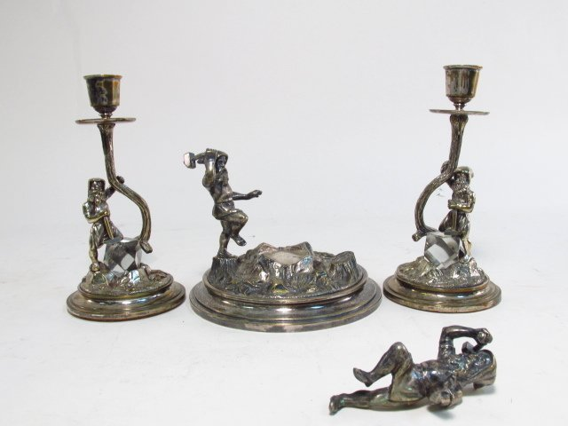 UNUSUAL ANTIQUE SILVER PLATED CANDLESTICK & CENTER
