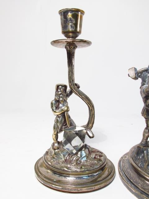 UNUSUAL ANTIQUE SILVER PLATED CANDLESTICK & CENTER - 3
