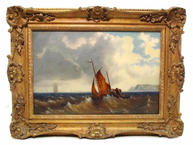 E. MONDY OIL PAINTING: SAILBOAT IN ROUGH SEA