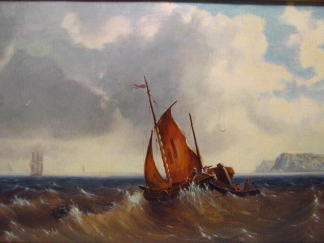 E. MONDY OIL PAINTING: SAILBOAT IN ROUGH SEA - 2