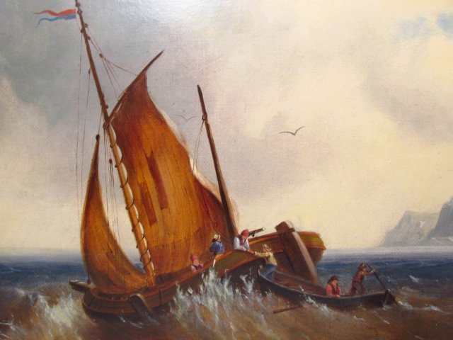 E. MONDY OIL PAINTING: SAILBOAT IN ROUGH SEA - 3