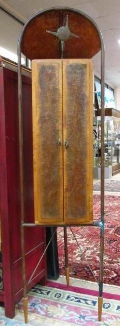 CONTEMPORARY COPPER AND CARVED MAPLE CABINET