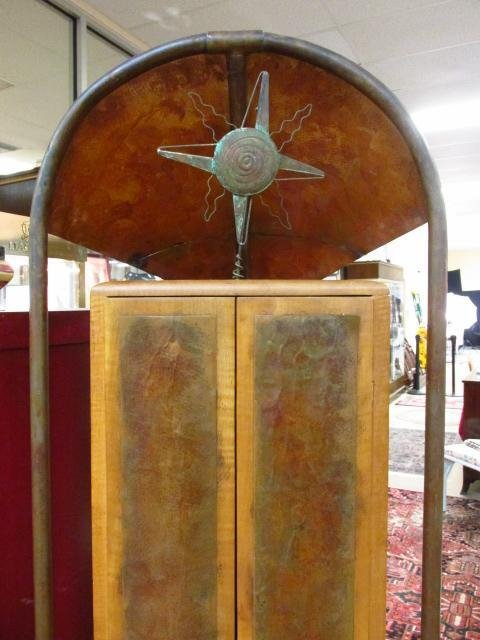 CONTEMPORARY COPPER AND CARVED MAPLE CABINET - 2