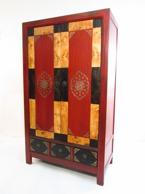 CONTEMPORARY BURLED WOOD CABINET