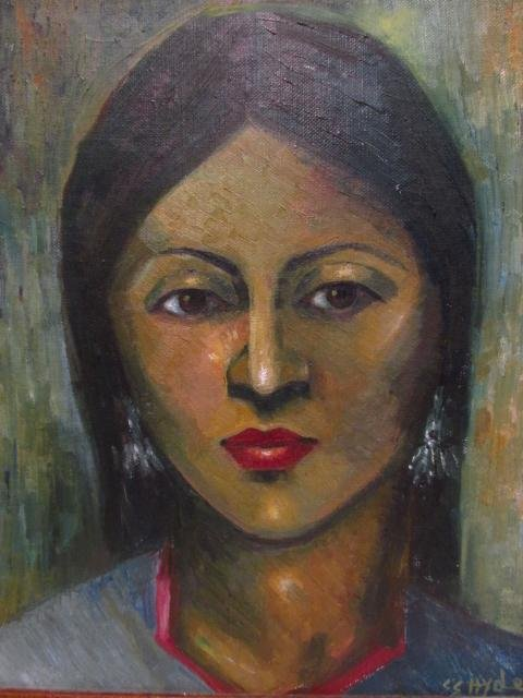 VINTAGE ACRYLIC ON CANVAS PORTRAIT OF A WOMAN