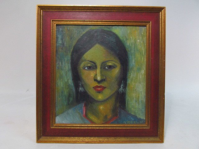 VINTAGE ACRYLIC ON CANVAS PORTRAIT OF A WOMAN - 3