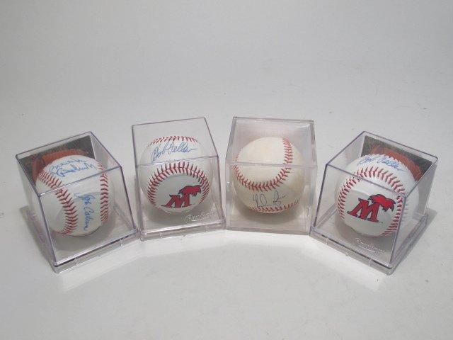 FOUR MLB SIGNED BASEBALLS - NOLAN RYAN, BOB FELLER