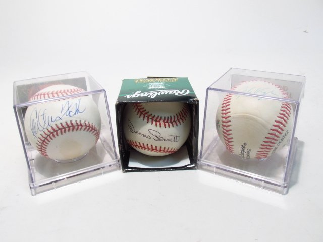 THREE SIGNED BASEBALLS: MO VAUGHN, DENNIS BENNETT,
