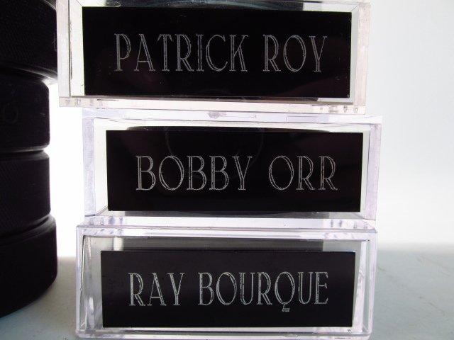 NINE PLAYER SIGNED HOCKEY PUCKS: BOBBY ORR, PATRIC - 2