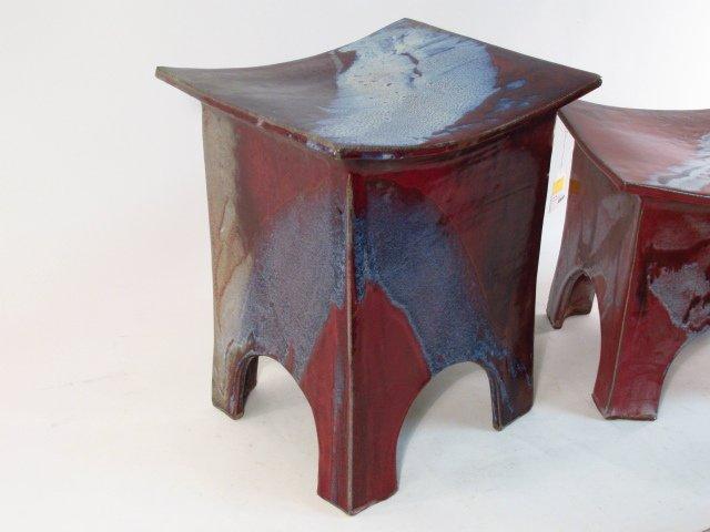 TWO GLAZED POTTERY GARDEN STOOLS - 2