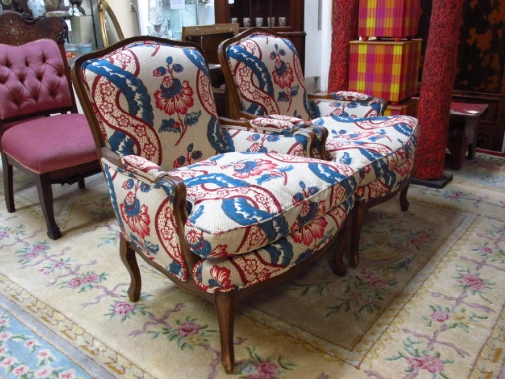 PAIR WALNUT FINISHED ARMCHAIRS W/ FLORAL FABRIC