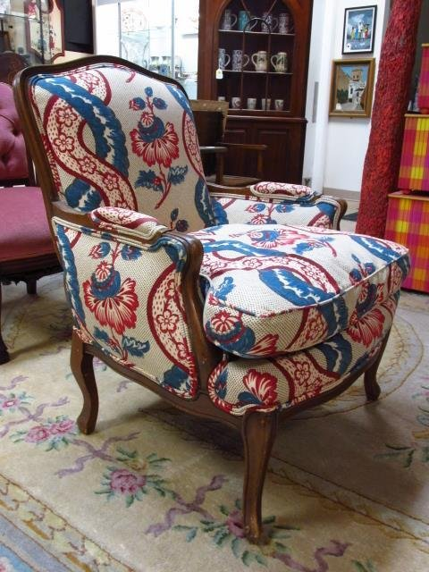PAIR WALNUT FINISHED ARMCHAIRS W/ FLORAL FABRIC - 2