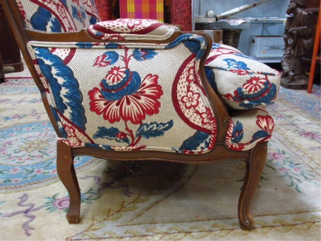 PAIR WALNUT FINISHED ARMCHAIRS W/ FLORAL FABRIC - 4