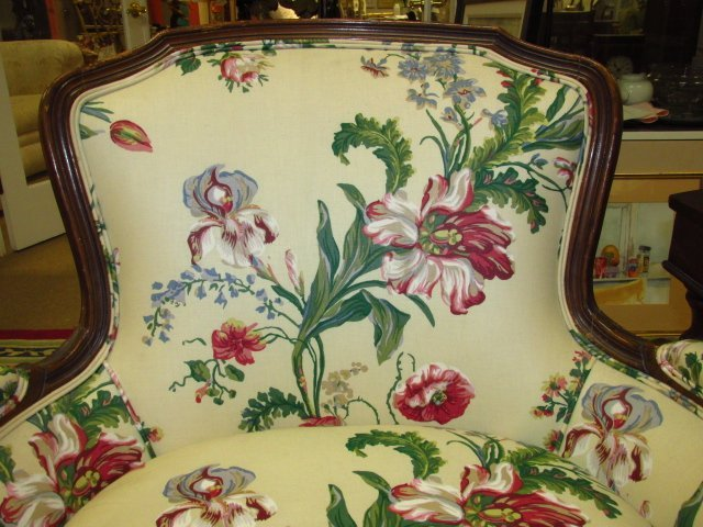 FLORAL UPHOLSTERED BERGERE CHAIR - 2