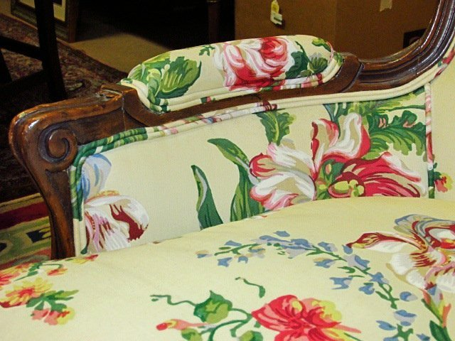 FLORAL UPHOLSTERED BERGERE CHAIR - 4
