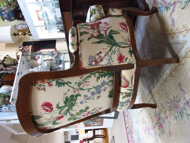 FLORAL UPHOLSTERED BERGERE CHAIR - 6