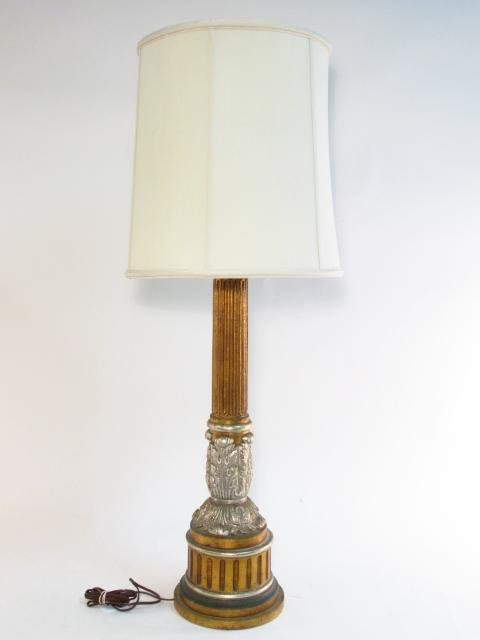 METALLIC FINISHED PILLAR FORM TABLE LAMP