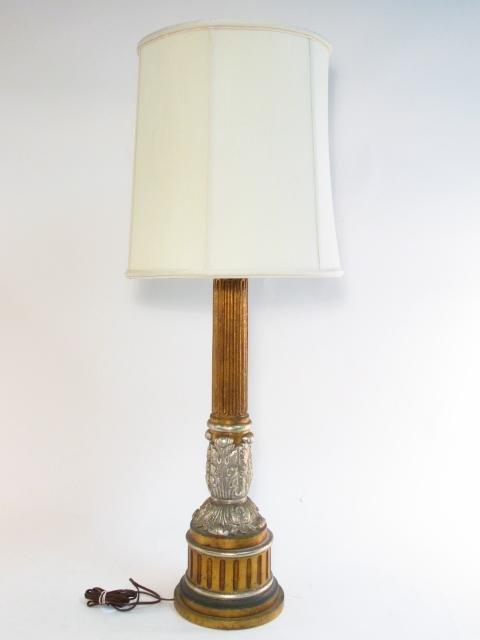 METALLIC FINISHED PILLAR FORM TABLE LAMP