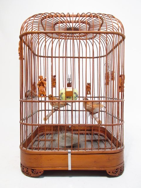 VINTAGE CHINESE BAMBOO BIRDCAGE
