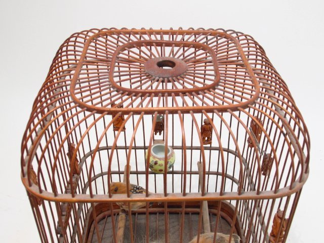 VINTAGE CHINESE BAMBOO BIRDCAGE - 2