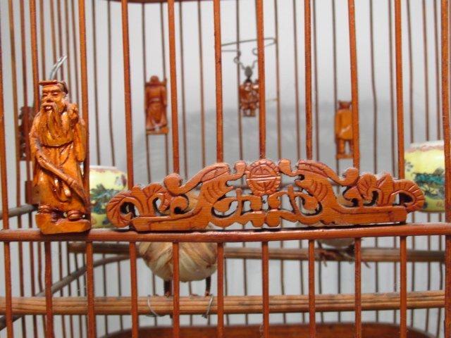 VINTAGE CHINESE BAMBOO BIRDCAGE - 6