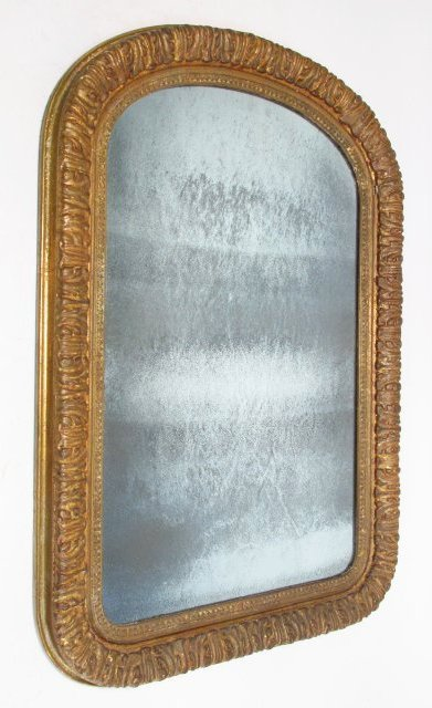 19TH C ROCOCO STYLE GILDED WALL MIRROR
