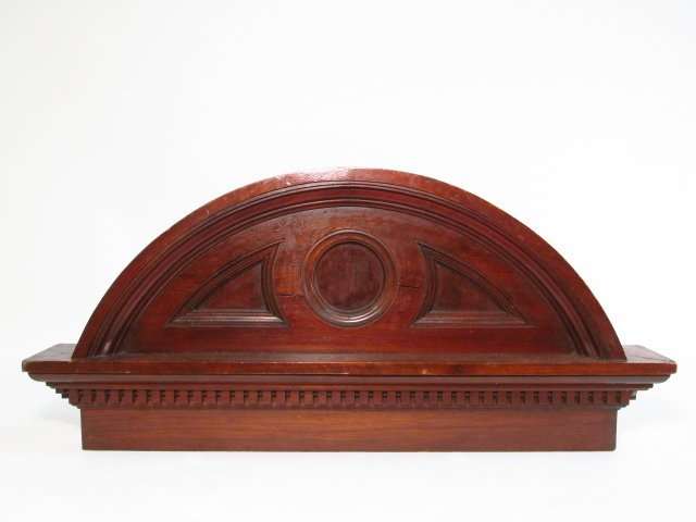CARVED WALNUT ARCHED PEDIMENT
