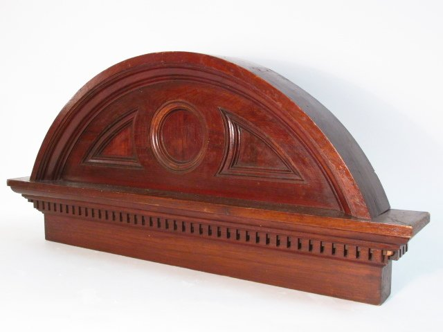 CARVED WALNUT ARCHED PEDIMENT - 5