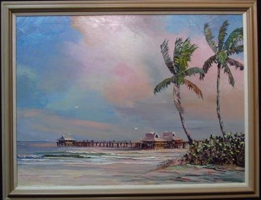 VINTAGE ACRYLIC ON CANVAS PAINTING: NAPLES PIER