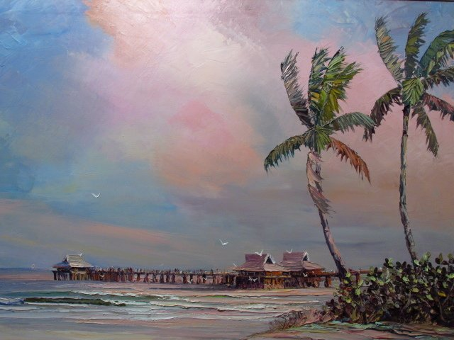 VINTAGE ACRYLIC ON CANVAS PAINTING: NAPLES PIER - 2