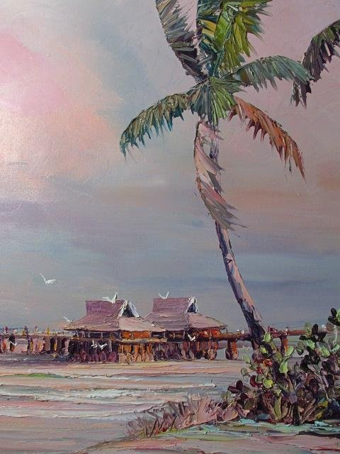 VINTAGE ACRYLIC ON CANVAS PAINTING: NAPLES PIER - 4