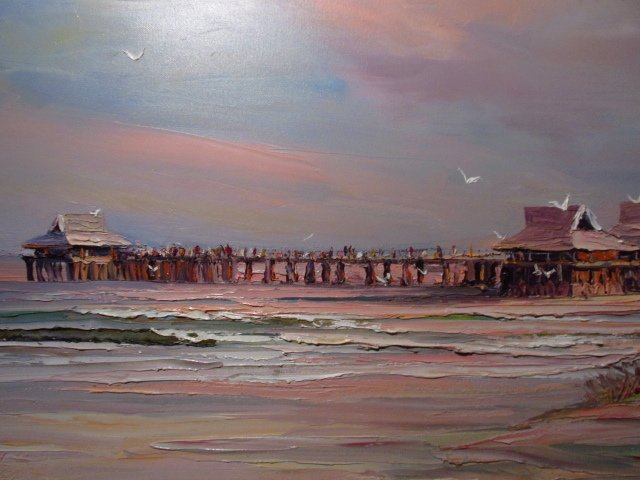 VINTAGE ACRYLIC ON CANVAS PAINTING: NAPLES PIER - 6