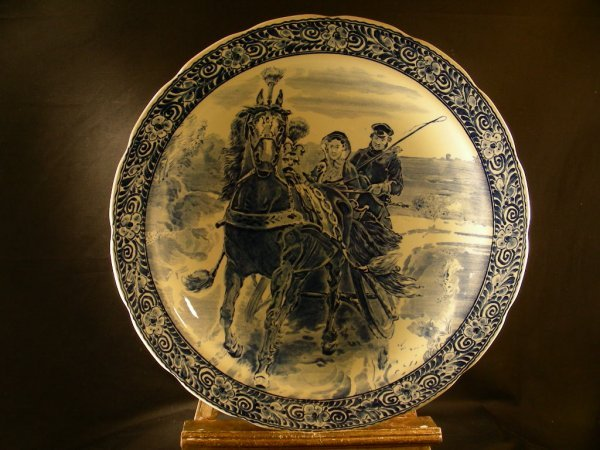 4: HUGE BOCH FRERES DELFT CHARGER HORSE SLEIGH RIDERS